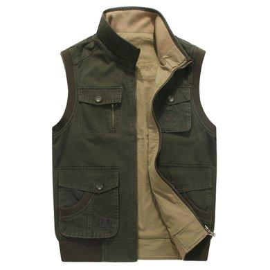 戰地吉普 春秋裝新款雙面穿休閑男馬甲多口袋加肥加大肥佬男士外套