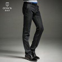O'JACK/欧尼杰 2018春款时尚休闲修身直筒中腰绅士男士长牛仔裤 DX08127