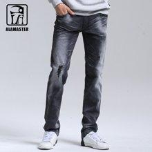 ALAMASTER 男士黑色牛仔裤男式修身破洞牛仔裤弹力男长裤6178089