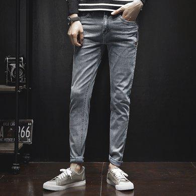 库依娜2019新款春夏男?#38752;?#26494;弹力直筒牛仔裤长裤UK201