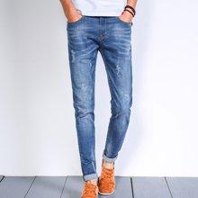 花花公子贵宾 春季新款修身小脚青年百搭潮流薄款裤子男士牛仔裤