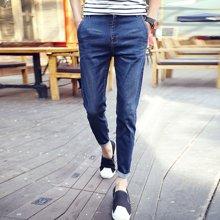 花花公子贵宾  春季新款韩版潮弹力薄修身九分裤英伦男装小脚牛仔裤