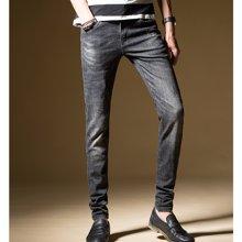 花花公子贵宾 春夏装新款韩版修身弹力刮痕小脚裤男士牛仔裤