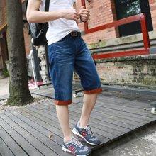 A LA MASTER  男士牛仔裤中裤男直筒纯棉五分裤双色牛仔裤休闲青年男裤13403S
