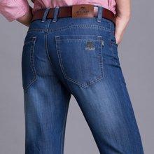 战地吉普 春夏装新款商务休闲宽松直筒牛仔裤男士薄款弹力牛仔长裤