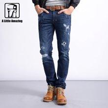 A LA MASTER 新款男式牛仔裤男修身破洞补丁牛仔裤男士潮流长裤169068