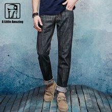 A LA MASTER 新款男式牛仔裤男修身直筒纯棉牛仔裤原色养牛男牛仔裤146045