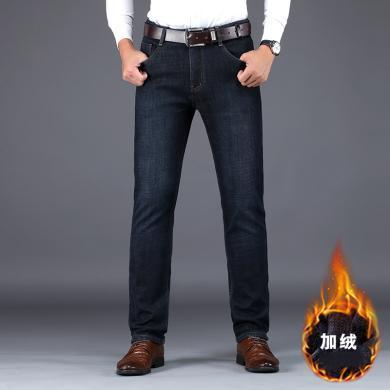 JEEP/吉普 男士加絨牛仔褲彈力修身中腰直筒大碼男褲休閑牛仔褲 1882Z