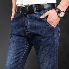 战地吉普 四季新款微弹纯色直筒牛仔裤男士大码牛仔裤长裤子