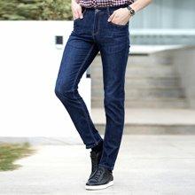 卓狼男装大码牛仔裤男士春夏季新款韩版潮蓝色修身显瘦商务直筒长裤子N80572FNM
