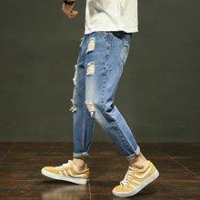 芃拉实拍2018春夏男裤青少年牛仔裤男修身牛仔长裤男破洞小脚裤LDZ-D1816
