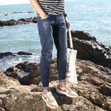 芃拉春夏季新款学生弹力修身男士牛仔裤男装长裤潮小直筒收脚复古QC203