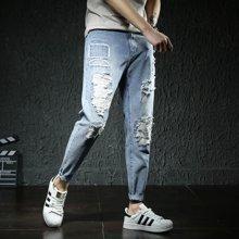 芃拉实拍2018春夏男裤青少年牛仔裤男修身牛仔长裤男破洞小脚裤LDZ-D1818