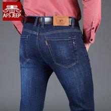 战地吉普 新款春秋韩版牛仔裤中腰舒适透气时尚男式直筒长裤青年