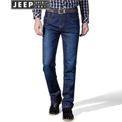 JEEP男士牛仔裤?#34892;?#36523;秋季牛仔裤男薄款青年商务宽松直筒长裤子潮J8008Q