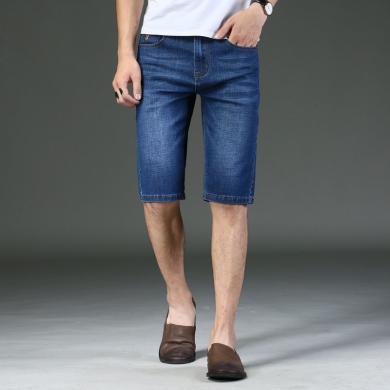 花花公子貴賓 夏季新款牛仔短褲薄款男式牛仔褲韓版彈力五分褲男裝中褲子潮