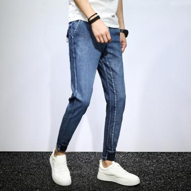 DupuSen度普森春款男士松緊腰牛仔褲男韓版潮流修身小腳9分青年系帶束腳九分褲MJ-382