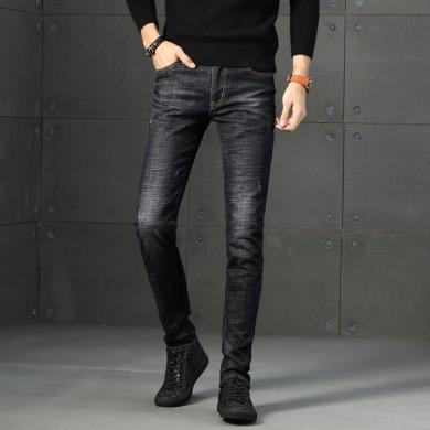DupuSen度普森新款黑色男式牛仔褲青年百搭春秋季彈力小腳長褲韓版修身男褲子DM-1829