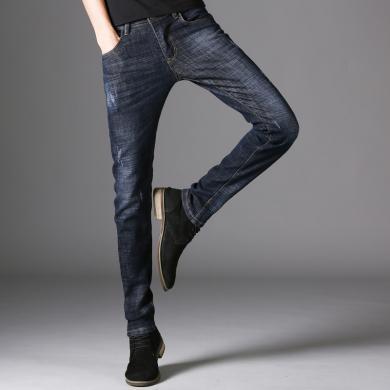 DupuSen度普森春秋男士新款牛仔褲男學生直筒褲時尚修身百搭小腳褲潮流長褲子潮DM-1825