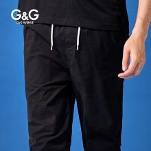 G&G男士2019夏季束脚裤男修身黑色休闲裤潮流百搭潮牌运动小脚裤