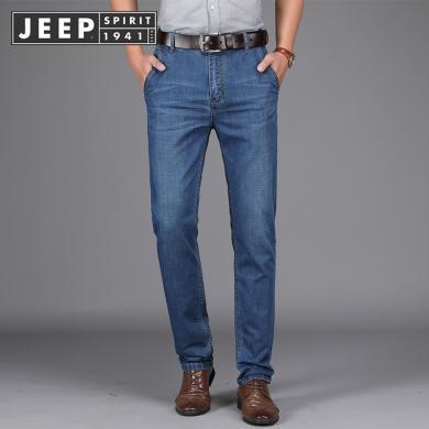 JEEP/吉普 2019新品男士薄牛仔裤修身弹力中腰直筒男裤大码休闲裤 JPCS2020Y