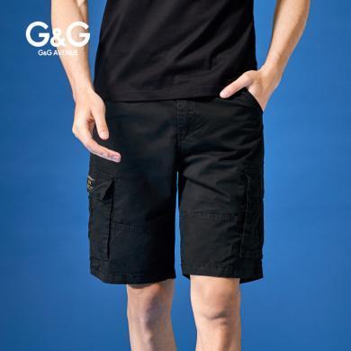 G&G 夏季2019新款黑色工裝短褲男寬松直筒五分褲多口袋潮流褲子