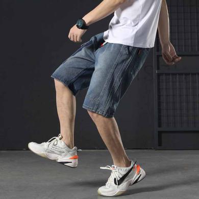 芃拉日系做舊工裝牛仔褲男寬松大碼松緊腰男短褲五分褲修身潮牌LDZ-D603