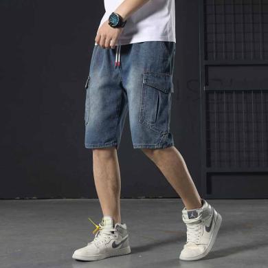 芃拉韓版復古工裝牛仔褲男寬松大碼松緊腰男短褲五分褲修身潮牌LDZD605
