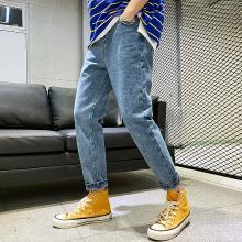 姝奕2019夏季新款男士九分牛仔褲韓版青少年學生寬松褲子男裝9分YC319