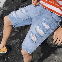 芃拉2019新款夏季破洞男士牛仔五分褲無彈漂白男士牛仔褲KY-D5