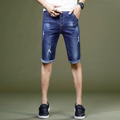 芃拉2019新款夏季男士牛仔五分裤破洞棉弹男士牛仔裤KY9159