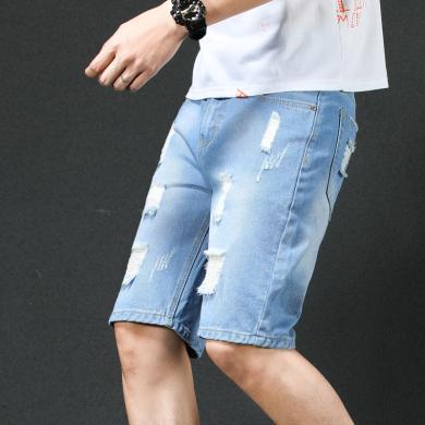 姝奕男士牛仔短裤男 五分裤夏季薄款牛仔中裤男韩版潮BM-B51