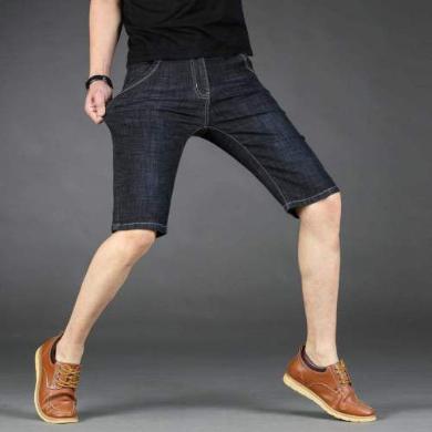 芃拉2019男款夏季新款牛仔短褲微彈力棉牛仔褲男七分褲大碼時尚CLPL818