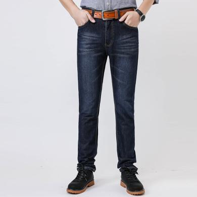 百依恋歌 新款男士大码宽松直筒长裤夏季休闲薄款牛仔裤 WTZ858