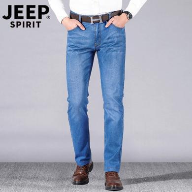 JEEP/吉普 新款男士薄牛仔褲修身彈力直筒中腰大碼男褲休閑褲 JPCS8009BZ