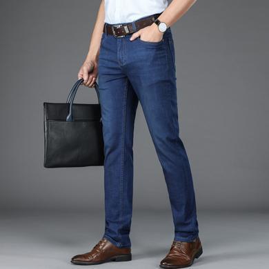 戰地吉圃 夏季新款商務牛仔褲寬松直筒男士薄款牛仔長褲彈力休閑男褲
