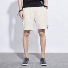 卓狼男装新款男士亚麻短裤五分裤休闲中裤夏天薄款宽松沙滩裤潮K6503