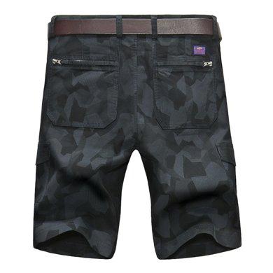 战地吉普 夏季新款宽松大码五分裤中腰多口袋短裤休闲裤
