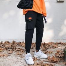 DupuSen度普森2019男士新款嘻哈潮流时尚学生帅气bf休闲工装小脚哈伦裤子黑色潮MJ-K605