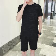 [爆款]度普森套装男套装2019新款男士套装运动服两件套短袖跑步套装健身套装圆领套装情侣装男衣服短袖运动套装RK-TZ836