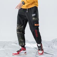 DupuSen度普森休闲裤男2019新款工装裤男宽松迷彩裤子男拼接九分裤嘻哈潮DM-836