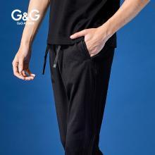 G&G 男式夏季直筒运动裤男潮牌黑色弹力休闲裤修身小脚薄款卫裤