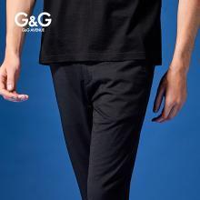 G&G 男士夏季直筒九分褲男9分百搭黑色休閑褲潮修身小腳薄款褲子
