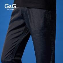 G&G 夏季男士黑色休閑褲男修身潮流百搭小腳褲直筒薄款彈力長褲