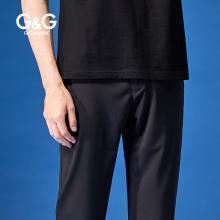 G&G 男式夏季弹力直筒休闲裤男修身黑色裤子韩版潮流百搭小脚裤