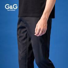 G&G 男士夏季裤子黑色休闲裤男潮流百搭修身小脚裤学生薄款男裤