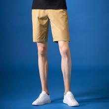 G&G男士2019夏季休閑中褲土黃色五分修身短褲男潮青年直筒沙灘褲