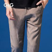 G&G男式夏季卡其色褲子直筒休閑褲男修身潮流百搭小腳褲彈力長褲