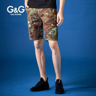 G&G 夏季2019男士新款迷彩短褲男潮修身韓版五分褲休閑直筒中褲
