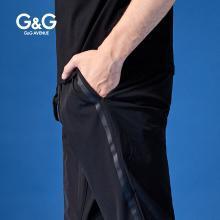 G&G男装夏季运动卫裤男潮牌收口休闲小脚裤?#26377;?#36523;黑色抽绳束脚裤